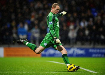 BOLTON, ENGLAND - JANUARY 05:  Chris Kirkland of Wigan Athletic in action during the Barclays Premier League match between Bolton Wanderers and Wigan Athletic at Reebok Stadium on January 5, 2011 in Bolton, England.  (Photo by Clive Mason/Getty Images)