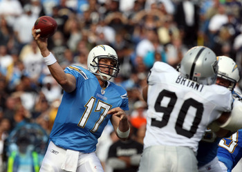 SAN DIEGO - DECEMBER 5: Quarterback Philip Rivers #17 of the San Diego Chargers throws the ball from the pocket against the Oakland Raiders during their NFL game at Qualcomm Stadium on December 5, 2010 in San Diego, California. (Photo by Donald Miralle/Ge