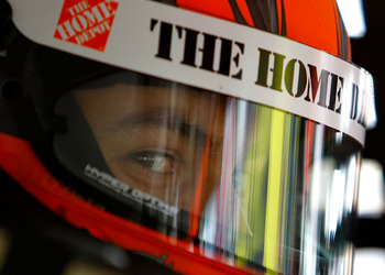 LOUDON, NH - JULY 15:  Joey Logano, driver of the #20 The Home Depot Toyota, sits in his car during practice for the NASCAR Sprint Cup Series LENOX Industrial Tools 301 at New Hampshire Motor Speedway on July 15, 2011 in Loudon, New Hampshire.  (Photo by