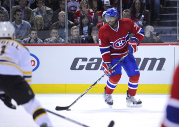 MONTREAL, CANADA - APRIL 26:  P.K. Subban #76 of the Montreal Canadiens looks to make a pass from the far boards in Game Six of the Eastern Conference Quarterfinals against the Boston Bruins during the 2011 NHL Stanley Cup Playoffs at the Bell Centre on A