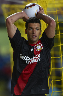 VILLARREAL, SPAIN - MARCH 17:  Michael Ballack of Bayer Leverkusen in action during the UEFA Europa League round of 16 second leg match between Villarreal and Bayer Leverkusen at El Madrigal stadium on March 17, 2011 in Villarreal, Spain.  (Photo by Manue