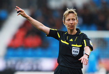 BOCHUM, GERMANY - JULY 03:  Referee Gyoengyi Gaal gestures during the FIFA Women's World Cup 2011 Group D match between Australia and Equatorial Guinea at Rewirpower Stadium on July 3, 2011 in Bochum, Germany.  (Photo by Joern Pollex/Getty Images)