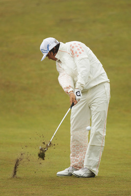 SANDWICH, ENGLAND - JULY 16:  Rickie Fowler of the United States hits an approach during the third round of The 140th Open Championship at Royal St George's on July 16, 2011 in Sandwich, England.  (Photo by Ross Kinnaird/Getty Images)