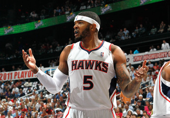 ATLANTA, GA - MAY 08:  Josh Smith #5 of the Atlanta Hawks against the Chicago Bulls in Game Four of the Eastern Conference Semifinals in the 2011 NBA Playoffs at Phillips Arena on May 8, 2011 in Atlanta, Georgia.  NOTE TO USER: User expressly acknowledges
