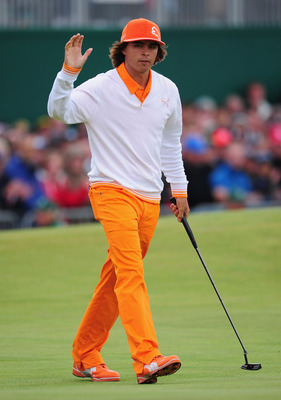 SANDWICH, ENGLAND - JULY 17:   Rickie Fowler of the United States acknowledges the crowd on the 18th green during the final round of The 140th Open Championship at Royal St George's on July 17, 2011 in Sandwich, England.  (Photo by Stuart Franklin/Getty I