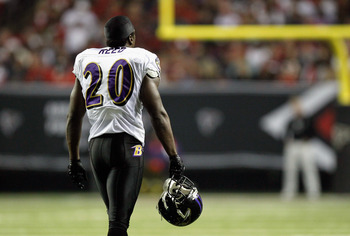 ATLANTA - NOVEMBER 11:  Ed Reed #20 of the Baltimore Ravens walks to the sidelines during a timeout against the Atlanta Falcons at Georgia Dome on November 11, 2010 in Atlanta, Georgia.  (Photo by Kevin C. Cox/Getty Images)