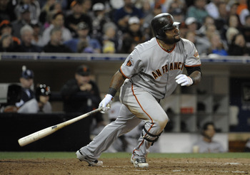 SAN DIEGO, CA - JULY 15:  Pablo Sandoval #48 of the San Francisco Giants grounds out during the ninth  inning of a baseball game against the San Diego Padres at Petco Park on July 15, 2011 in San Diego, California.  (Photo by Denis Poroy/Getty Images)