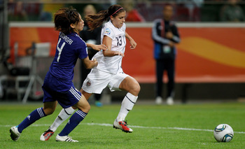 FRANKFURT AM MAIN, GERMANY - JULY 17:  Alex Morgan (R) of USA and Saki Kumagai (L) of Japan battle for the ball during the FIFA Women's World Cup Final match between Japan and USA at the FIFA World Cup stadium Frankfurt on July 17, 2011 in Frankfurt am Ma