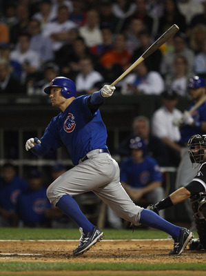 CHICAGO, IL - JUNE 22: Jeff Baker #28 of the Chicago Cubs hits the ball against the Chicago White Sox at U.S. Cellular Field on June 22, 2011 in Chicago, Illinois. The White Sox defeated the Cubs 4-3. (Photo by Jonathan Daniel/Getty Images)
