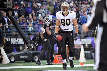 BALTIMORE, MD - DECEMBER 19:  Jimmy Graham #80 of the New Orleans Saints celebrates the Saints first touchdown against the Baltimore Ravens  at M&T Bank Stadium on December 19, 2010 in Baltimore, Maryland. The Ravens lead the Saints at the half 21-14. (Ph