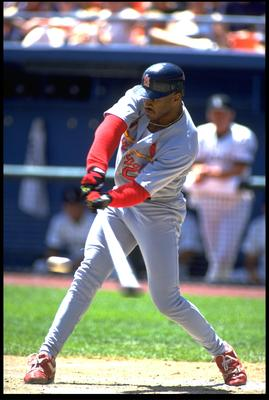 25 JUL 1993:  MARK WHITEN, OUTFIELDER FOR THE ST. LOUIS CARDINALS, SWINGS AWAY DURING THEIR GAME AGAINST THE COLORADO ROCKIES AT MILE HIGH STADIUM IN DENVER, COLORADO.  MANDATORY CREDIT: TIM DEFRISCO/ALLSPORT.