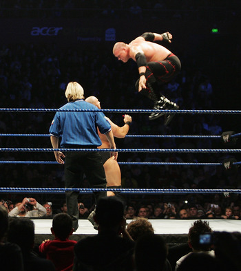 SYDNEY, AUSTRALIA - JUNE 15:  ECW Champion Kane leaps fromt he turnbuckle against Bam Neely during WWE Smackdown at Acer Arena on June 15, 2008 in Sydney, Australia.  (Photo by Gaye Gerard/Getty Images)