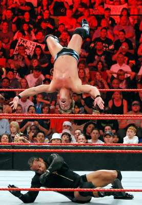 LAS VEGAS - AUGUST 24:  Wrestler Chris Jericho jumps off the ropes at wrestler MVP during the WWE Monday Night Raw show at the Thomas & Mack Center August 24, 2009 in Las Vegas, Nevada.  (Photo by Ethan Miller/Getty Images)
