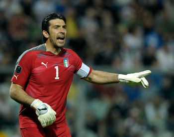 MODENA, ITALY - JUNE 03:  Gianluigi Buffon of Italy during the UEFA EURO 2012 Group C qualifying match between Italy and Estonia on June 3, 2011 in Modena, Italy.  (Photo by Claudio Villa/Getty Images)