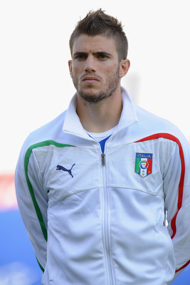 TOULON, FRANCE - JUNE 01:  Davide Santon of Italy looks on prior to the Toulon U21 tournament match between Italy and Ivory Coast at Felix Mayol Stadium on June 1, 2011 in Toulon, France.  (Photo by Valerio Pennicino/Getty Images)