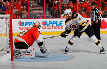 PHILADELPHIA, PA - MAY 02:  Nathan Horton #18 of the Boston Bruins is stopped on a breakaway by goalie Brian Boucher #33 of the Philadelphia Flyers during the third period of Game Two of the Eastern Conference Semifinals during the 2011 NHL Stanley Cup Pl