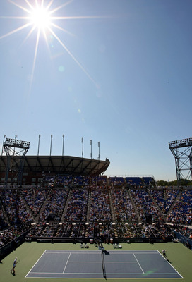 NEW YORK - SEPTEMBER 03:  A general view from Louis Armstrong Stadium with Arthur Ashe Stadium in the background during day four of the 2009 U.S. Open at the USTA Billie Jean King National Tennis Center on September 3, 2009 in Flushing neighborhood of the