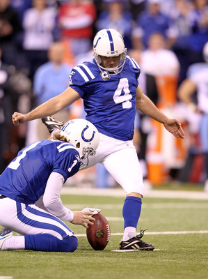 INDIANAPOLIS - JANUARY 02:  Adam Vinatieri #4 of the Indianapolis Colts kicks a 43 yard field goal as time expires to beat the Tennessee Titans 23-20 at Lucas Oil Stadium on January 2, 2011 in Indianapolis, Indiana.  (Photo by Andy Lyons/Getty Images)