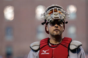 BALTIMORE, MD - JUNE 24:  Catcher Ramon Hernandez #55 of the Cincinnati Reds in action against the Baltimore Orioles at Oriole Park at Camden Yards on June 24, 2011 in Baltimore, Maryland.  (Photo by Rob Carr/Getty Images)