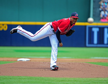 ATLANTA - JULY 17: Jair Jurrjens #49 of the Atlanta Braves pitches against the Washington Nationals at Turner Field on July 17, 2011 in Atlanta, Georgia. (Photo by Scott Cunningham/Getty Images)