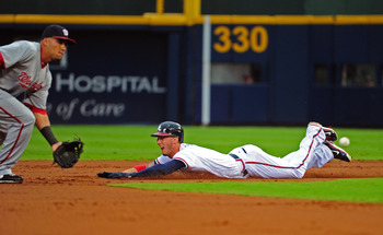 ATLANTA - JULY 15: Jordan Schafer #1 of the Atlanta Braves takes second base on a wild pitch against the Washington Nationals at Turner Field on July 15, 2011 in Atlanta, Georgia. (Photo by Scott Cunningham/Getty Images)