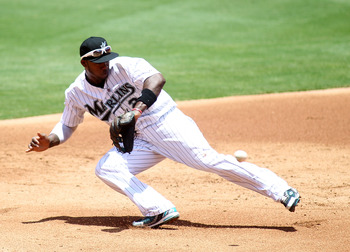MIAMI GARDENS, FL - JULY 10:  Hanley Ramirez #2  of the Florida Marlins makes a play against the Houston Astros at Sun Life Stadium on July 10, 2011 in Miami Gardens, Florida.  (Photo by Marc Serota/Getty Images)