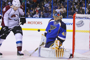 ST. LOUIS, MO - APRIL 5: David Jones #54 of the Colorado Avalanche shoots the puck against Jaroslav Halak #41 of the St. Louis Blues at the Scottrade Center on April 5, 2011 in St. Louis, Missouri.  (Photo by Dilip Vishwanat/Getty Images)
