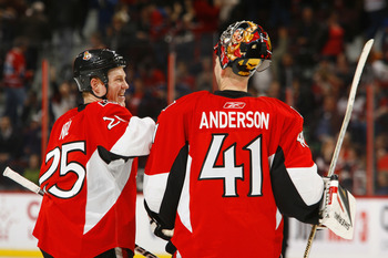 OTTAWA, CANADA - APRIL 07:  Chris Neil #25 of the Ottawa Senators congratulates teammate Craig Anderson #41 on his victory over the Montreal Canadiens at the end of a game at Scotiabank Place on April 7, 2011 in Ottawa, Canada.  (Photo by Phillip MacCallu
