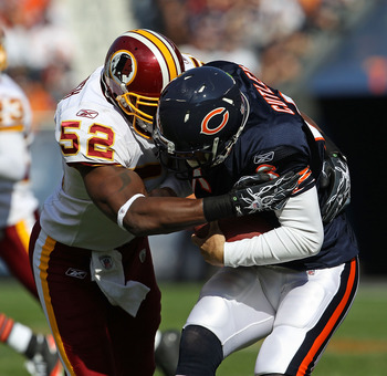 CHICAGO - OCTOBER 24: Jay Cutler #6 of the Chicago Bears is sacked by Rocky McIntosh #52 of the Washington Redskins at Soldier Field on October 24, 2010 in Chicago, Illinois. The Redskins defeated the Bears 17-14. (Photo by Jonathan Daniel/Getty Images)