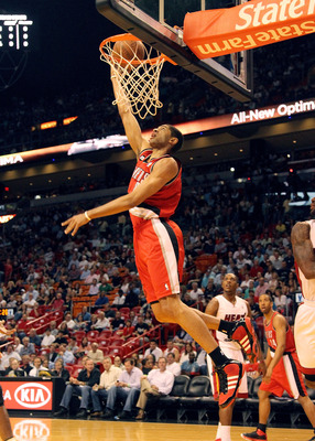 MIAMI, FL - MARCH 08:  Nicholas Batum #88 of the Portland Trail Blazers drives to the basket during a game against the Miami Heat at American Airlines Arena on March 8, 2011 in Miami, Florida. NOTE TO USER: User expressly acknowledges and agrees that, by