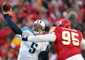 KANSAS CITY, MO - DECEMBER 26:  Quarterback Kerry Collins #5 of the Tennessee Titans passes as Ron Edwards #95 of the Kansas City Chiefs defends during the game on December 26, 2010 at Arrowhead Stadium in Kansas City, Missouri.  (Photo by Jamie Squire/Ge