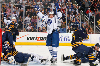BUFFALO, NY - MARCH 27: Mikhail Grabovski #84 of the Toronto Maple Leafs celebrates Nikolai Kulemin's goal in the third period against the Buffalo Sabres on March 27, 2009 at HSBC Arena in Buffalo, New York.  (Photo by Rick Stewart/Getty Images)