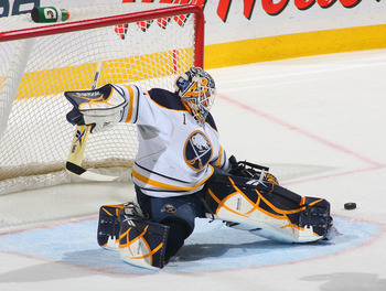 BUFFALO, NY - APRIL 08:Jhonas Enroth #1 of the Buffalo Sabres makes a skate save against the Philadelphia Flyers at HSBC Arena on April 8, 2011 in Buffalo, New York.  (Photo by Rick Stewart/Getty Images)