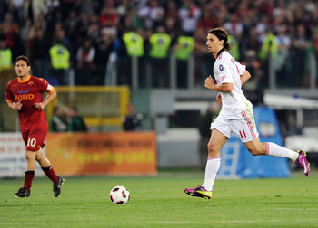 ROME, ITALY - MAY 07:  Zlatan Ibrahimovic of Milan in action during the Serie A match between AS Roma and AC Milan at Stadio Olimpico on May 7, 2011 in Rome, Italy.  (Photo by Giuseppe Bellini/Getty Images)