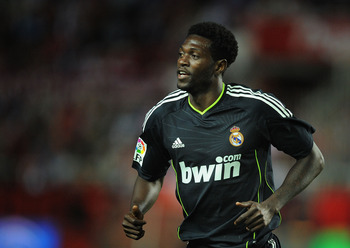 SEVILLE, SPAIN - MAY 07: Emmanuel Adebayor of Real Madrid in action during the La Liga match between Sevilla and Real Madrid at Estadio Ramon Sanchez Pizjuan on May 7, 2011 in Seville, Spain.  (Photo by Denis Doyle/Getty Images)
