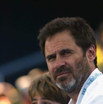 LOS ANGELES - JULY 22:  Comedian Dennis Miller observes during the match between Andy Roddick and Hyung-Taik Lee on July 22, 2002 in the first round of the Mercedes-Benz Cup at the Los Angeles Tennis Center in Los Angeles, California. Roddick beat Lee 6-7