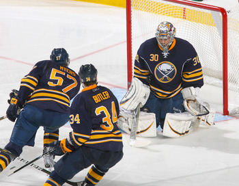 BUFFALO, NY - APRIL 20:  Ryan Miller #30 of the Buffalo Sabres plays goal against the Philadelphia Flyers in Game Four of the Eastern Conference Quarterfinals during the 2011 NHL Stanley Cup Playoffs at HSBC Arena at HSBC Arena on April 20, 2011 in Buffal