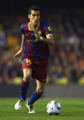 VALENCIA, BARCELONA - APRIL 20:  Sergio Busquets of Barcelona in action during the Copa del Rey final match between Real Madrid and Barcelona at Estadio Mestalla on April 20, 2011 in Valencia, Spain. Real Madrid won 1-0.  (Photo by Manuel Queimadelos Alon