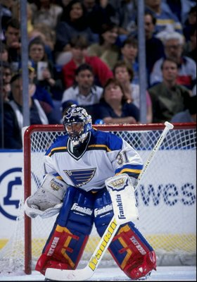 28 Mar 1998:  Goaltender Grant Fuhr #31 of the St. Louis Blues in action during a game against the Detroit Red Wings at the Kiel Center in St. Louis, Missouri. The Blues defeated the Red Wings 3-2. Mandatory Credit: Elsa Hasch  /Allsport