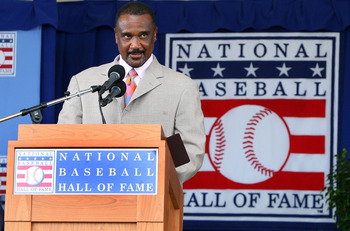 COOPERSTOWN, NY - JULY 26:  Jim Rice gives his induction speech at Clark Sports Center after his induction into the Baseball Hall of Fame during the Baseball Hall of Fame induction ceremony on July 26, 2009 in Cooperstown, New York. Rice played his entire