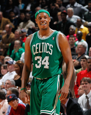 ATLANTA, GA - APRIL 01:  Paul Pierce #34 of the Boston Celtics against the Atlanta Hawks at Philips Arena on April 1, 2011 in Atlanta, Georgia.  NOTE TO USER: User expressly acknowledges and agrees that, by downloading and/or using this Photograph, user i