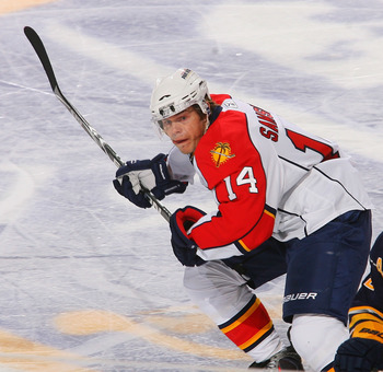 BUFFALO, NY - MARCH 25: Sergei Samsonov #14  of the Florida Panthers skates against the Buffalo Sabres at HSBC Arena on March 25, 2011 in Buffalo, New York.  (Photo by Rick Stewart/Getty Images)