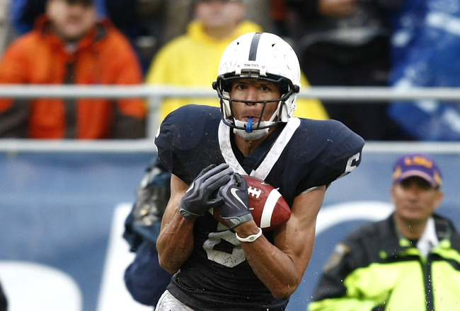 ORLANDO, FL - JANUARY 1: Derek Moye #6 of the Penn State Nittany Lions catches a touchdown pass in the first half against the LSU Tigers in the 2010 Capital One Bowl at the Florida Citrus Bowl Stadium on January 1, 2010 in Orlando, Florida. (Photo by Joe