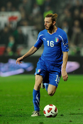 LJUBLJANA, SLOVENIA - MARCH 25:  Federico Balzaretti of Italy competes for the ball during the UEFA EURO 2012 qualifier between Slovenia and Italy on March 25, 2011 in Ljubljana, Slovenia.  (Photo by Claudio Villa/Getty Images)
