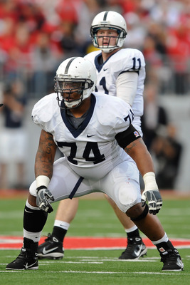 COLUMBUS, OH - NOVEMBER 13:  Johnnie Troutman #74 of the Penn State Nittany Lions prepares to block against the Ohio State Buckeyes at Ohio Stadium on November 13, 2010 in Columbus, Ohio.  (Photo by Jamie Sabau/Getty Images)
