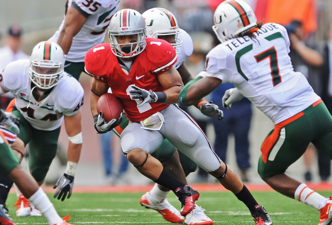 COLUMBUS, OH - SEPTEMBER 11:  Dan Herron #1 of the Ohio State Buckeyes runs with the ball against the Miami Hurricanes at Ohio Stadium on September 11, 2010 in Columbus, Ohio.  (Photo by Jamie Sabau/Getty Images)