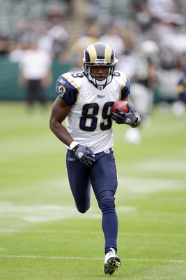 OAKLAND, CA - SEPTEMBER 19:  Mark Clayton #89 of the St. Louis Rams warms up before their game against the Oakland Raiders at the Oakland-Alameda County Coliseum on September 19, 2010 in Oakland, California.  (Photo by Ezra Shaw/Getty Images)
