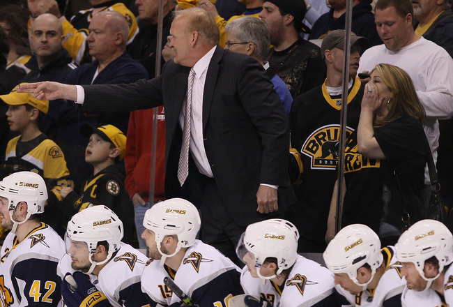 BOSTON - APRIL 26:  Head coach Lindy Ruff of the Buffalo Sabres directs his players in the final minutes of the game against the Boston Bruins in Game Six of the Eastern Conference Quarterfinals during the 2010 NHL Stanley Cup Playoffs at TD Garden on Apr