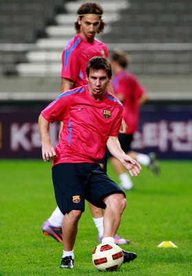 SEOUL, SOUTH KOREA - AUGUST 03:  Lionel Messi (front) and Zlatan Ibrahimovic of FC Barcelona attend a training session at the Seoul Worldcup stadium on August 3, 2010 in Seoul, South Korea. FC Barcelona will play against South Korea's K-league all star te