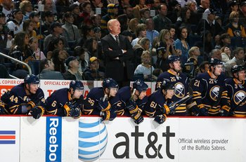 BUFFALO, NY - NOVEMBER 28:  Head Coach Lindy Ruff of the Buffalo Sabres looks on from the bench area with his players during their NHL game against the Pittsburgh Penguins on November 28, 2008 at HSBC Arena in Buffalo, New York. The Sabres defeated the Pe